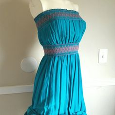 "Strapless Maxi Dress Strapless maxi dress with beautiful butterfly details. Elastic top and waistband. Never worn. Blue/turquoise color.  Length: 52"" 100% Rayon Forever 21 Dresses Maxi"