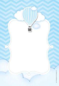 Airballoon Baby Shower invitation by glitterinvitescy on Etsy Scrapbook Bebe, Baby Boy Scrapbook, Babyshower Party, Balloon Invitation, Shower Invitation, Baby Shower Souvenirs, Baby Shower Invitaciones, Baby Frame, Baby Boy Birthday