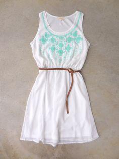 embroidered white boho summer dress