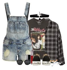 """""""Knock 'em dead Kid"""" by jenn265 ❤ liked on Polyvore featuring H&M, VILA, Urban Decay, Converse and le top"""