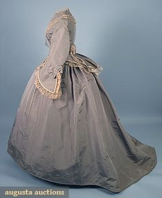 TRAINED SILK DAY DRESS, c. 1870 2-piece bluish gray faille, trimmed w/ cream lace & dorset buttons, has organdy & lace undersleeves.