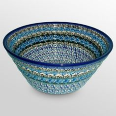 Beautiful Deep Rib Bowl by Polish Pottery.  This would look nice with my other polish pottery that I are have displayed in my buffet.
