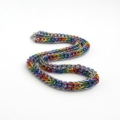 Rainbow chainmaille necklace, Full Persian weave by TattooedAndChained, $100.00