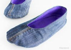 Farkkutossut Jeans Refashion, Diy Clothes Refashion, Denim Shoes, Denim Bag, Diy Clothes Vintage, Sewing Slippers, Diy Clothes Tutorial, Shoe Makeover, Diy Clothes Videos