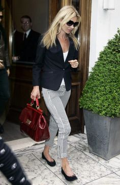 Pinstripe pants with red bag, blazer and flats
