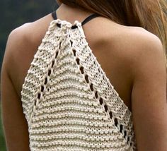 Make the Rebel Cami, a sassy but sweet drawstring halter top crochet pattern from TL Yarn Crafts. Challenge your crochet stills with unique shaping and textureInspiration for crochet or knitt Crochet Bra, Crochet Crop Top, Crochet Clothes, Bralette Pattern, Knitting Patterns, Crochet Patterns, Summer Knitting, Crochet Projects, Creations