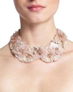 pink rose floral gemstone floral statement collar for women Anne Fontai