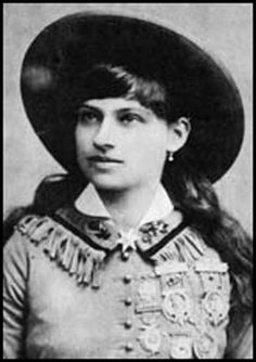 "Annie Oakley Born: Patterson Township, Ohio 8-13-1860  Died: Greenville, Ohio 11-3-1926   The most famous female sharpshooter of all times. It was her height (She was only 5 ft. tall) and her amazing accuracy that had Chief Sitting Bull name her ""Little Sure Shot"". She starred in the Wild West Show for over 16 years and is the subject of the Broadway hit ""Annie Get Your Gun""."