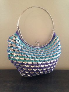 Soda tab purse, the mermaid bag made in mermaid colors this time