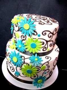 Teal and Lime Green Wedding Cake