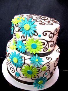 Teal and Lime Green Wedding Cake