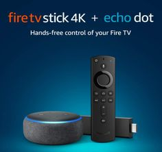 """This bundle includes a Fire TV Stick 4K and an Echo Dot. Pair to get hands-free voice control of your Fire TV with Alexa, just say """"Alexa, play Tom Clancy's Jack Ryan."""" Fire TV Stick 4K is the most powerful 4K streaming media stick with a Wi-Fi antenna design optimized for 4K Ultra HD streaming. Enjoy brilliant picture with access to 4K Ultra HD, Dolby Vision, HDR, and HDR10+. Choose from 500,000 movies and TV episodes. Watch favorites from Netflix, YouTube, Prime Video, STARZ, SHOWTIME, CBS… Arduino Home Automation, Hd Streaming, Tv Episodes, Most Powerful, Prime Video, Apple Tv, Wi Fi, Remote, Gadgets"""