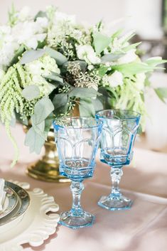 Elegant Head Table Setting with vintage china and glassware! Dixie Does Vintage in Dallas Tx