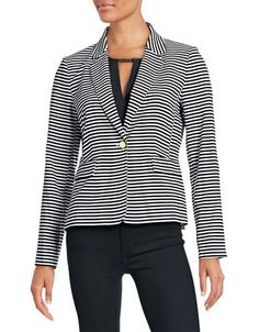CALVIN KLEIN Calvin Klein Striped One-Button Jacket. #calvinklein #cloth #