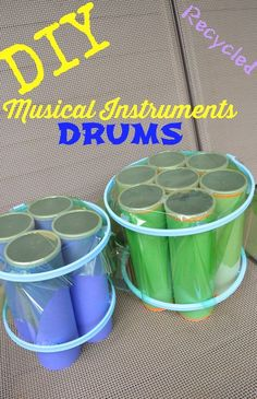 Recycled Drum Musical Instrument DIY Musical Instruments Drum Set - recycled empty Pringles cans = 1 COOL drum set for kids!DIY Musical Instruments Drum Set - recycled empty Pringles cans = 1 COOL drum set for kids!