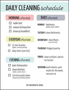 This printable cleaning schedule for working moms will give you a checklist for what you need to clean daily, weekly to keep your home clean so you can enjoy your kids! schedule printable Simple Printable Cleaning Schedule For Working Moms Clean House Schedule, House Cleaning Checklist, Working Mom Schedule, Weekly Cleaning Schedule Printable, Family Schedule, Daily Schedule For Moms, Apartment Cleaning Schedule, Weekly Chore List, Spring Cleaning Schedules