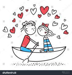 Стоковая иллюстрация «Lovers Boy Girl Sit On Boat», 1636662355