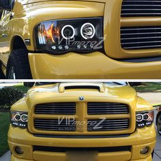 2002 2005 Dodge Ram 1500 Black Halo Led Projector Head Light 03 05 2500 3500