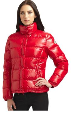 """Gorgeous, classic puffer coat by Moncler Hard to find Bright Red color Moncler """"Bady"""" puffer short jacket Two-way zip front - Angled zip pockets Absolutely brand new, perfect condition - Never worn Size 4 - Large - XL fits US 12 - 14  