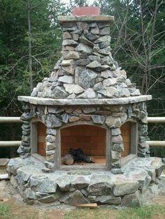 Backyard fireplace idea #backyard #fireplace