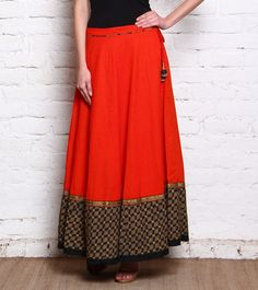 Red & Black Printed Pure Cotton Skirt