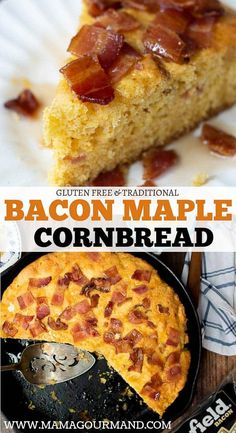 Bacon Cornbread is a southern-style cornbread sweetened with maple syrup, dotted with chopped bacon, covered with a sticky maple bacon topping, and baked in an iron skillet. Check out recipe and how you can win #BaconForLife from @SmithfieldBrand AD #cornbread #bacon #easy #sweet #skillet #southern #maple