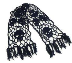 Skull Shawl  Crochet Shawl  Halloween Shawl by CreativeWorkByAnnie
