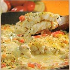 Pescado con salsa de queso