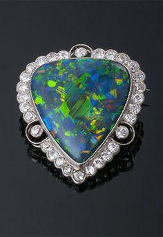 Art Deco Lightning Ridge Black Opal and Diamond Brooch Art Deco Earrings, Art Deco Jewelry, Opal Jewelry, Fine Jewelry, Jewelry Design, Jewellery, Antique Brooches, Antique Jewelry, Vintage Jewelry