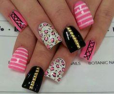 ideas for nails acrilico sencillas cortas Fancy Nails, Cute Nails, Pretty Nails, Crazy Nails, Neon Nail Designs, French Nail Designs, Hair And Nails, My Nails, Botanic Nails