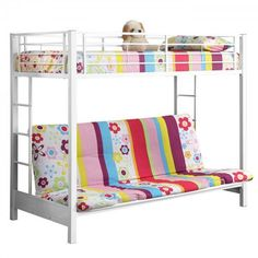 """Futon Bunk Bed - Metal (White) (80""""H x 68""""W x 44""""D). Description:This simple, yet contemporary twin-over-futon bunk bed conveys chic style with its clean lines and beautiful finish. The sturdy, steel-crafted frame promises stability and function to support up to 250 pounds. Designed with safety in mind, this bunk bed includes full length guardrails and two integrated ladders for dual access to the top bunk. Ideal for space-saving needs, the futon easily converts into a full-size sleeper…"""