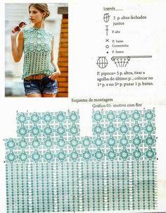 Top Crochet Flores relieve punto cuadrado - Paso a Paso | Patrones Crochet, Manualidades y Reciclado