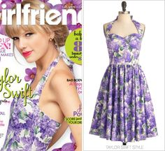 Girlfriend magazine | September 2013 Thanks Meg! Modcloth 'Hide in the Hydrangeas Dress' - Sold out Taylor looks sweet as ever as she graces the cover in this floral, 50's-inspired dress.