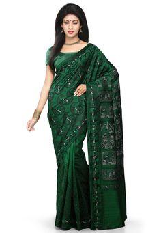 Buy Dark Green Pure Silk Handloom Baluchari Saree with Blouse online, work: Hand Woven, color: Dark Green, usage: Wedding, category: Sarees, fabric: Silk, price: $296.00, item code: SQGA28, gender: women, brand: Utsav