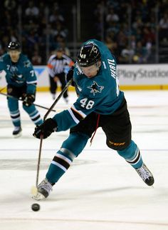 San Jose Sharks rookie forward Tomas Hertl breaks his hockey stick on a shot on goal attempt during the second period (Oct. 8, 2013).