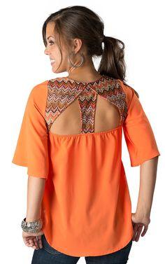 Umgee Women's Orange with Multi-Colored Chevron Crochet Hi-Lo 3/4 Sleeves Fashion Top