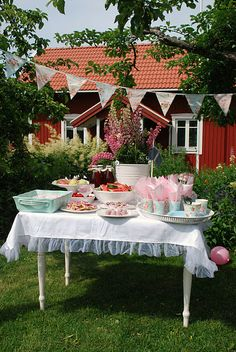 summer picnic in the garden of a red swedish house
