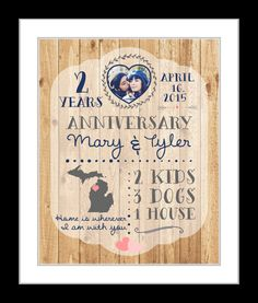 1 Any Or 2 Year Anniversary Gifts 2nd Gift For Him Men Cotton Woman Canvas Opt Present Her Wife