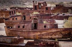 Fishing Boats At Aral Sea, Muynaq, Uzbekistan, via Flickr. Once the 4th largest inland body of water. Soon to disappear thanks to mankind.