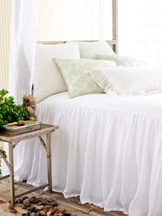 Inspiration for a bed skirt with Duvet!   Savannah Linen Gauze Bedspread in White