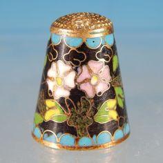 Vintage FLORAL CLOISONNE ENAMEL Collectible Sewing Thimble.