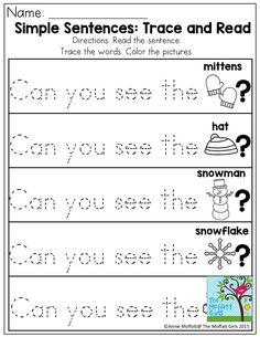 Simple Sentences: Trace and Read. Great sight word practice! There are TONS of NO PREP printable sheets!