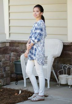 Everyday Casual Outfit: Plaid / Floral / White Jeans   Hi everyone! I'm excited to share another outfit that's just perfect for everyday.    Loose cute tops are right up my alley, anything with ...
