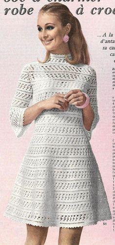 """Robe blanche crochet """"dentelle"""" tailles 38/40 et 42/44"""