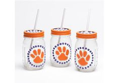 Football Mason Jars with FolkArt Multi-Surface - tailgate and game day entertaining #DIY craft projects with #folkartmulti - Click thru for the full tutorial