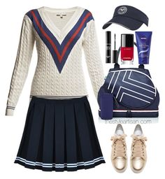 """Rumour London - Wimbledon Cricket Jumper"" by thestyleartisan ❤ liked on Polyvore featuring Rumour London, Tory Sport, MAKE UP FOR EVER, Chanel, Lanvin, Nivea, tennis and tennisstyle"