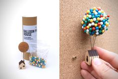 "This Little Balloon Pin House Inspired By 'Up"" Is The Perfect Deskside Companion Diy Crafts Hacks, Diy Home Crafts, Craft Stick Crafts, Arts And Crafts, Paper Crafts, Balloon House, Coin Couture, Miniature Crafts, Diy Tutorial"