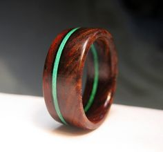 Cocobolo Wood Ring - Stained Wood Stripe