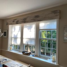 Rustic Window, Home, Wooden Valance, Home And Living, Windows, Farmhouse Valances, House, Rustic Farmhouse, Rustic Window Decor