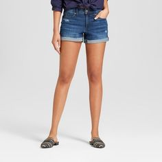 e49ca9a8d57c99 Women s Mid-Rise Destructed Midi Jean Shorts - Universal Thread™ Medium Wash